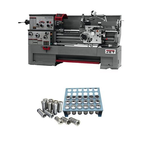 Review JET GH-1440ZX-TAK Lathe with Taper Attachment Installed with Premium 35 Piece 5-C Collet Set ...