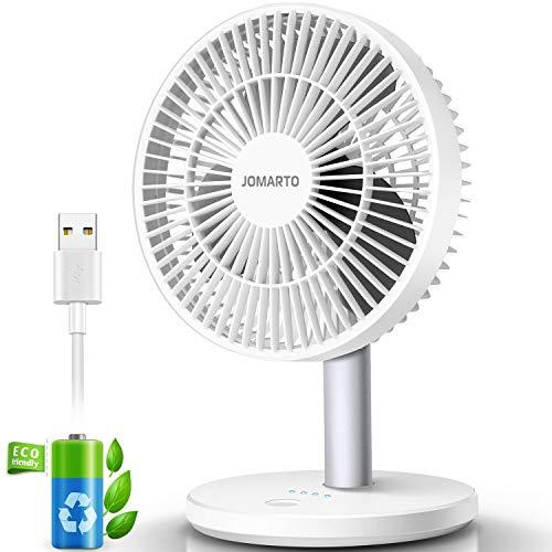 JOMARTO Standventilator Leise 3 Stufen USB Ventilator Tischventilator 2200 mAh Batteriebetrieben USB Fan 90 Grad Drehung Luftkühler für Kinder, Student, Erwachsene -Weiß