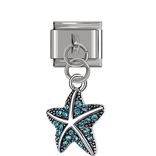 QFDM Estrellas de mar 2 PCS 9 mm de Ancho Colgante de Estrellas de mar 9mm Pulsera de Acero Inoxidable Conchas y Estrellas de mar (Metal Color : H)