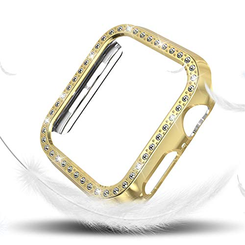 LAAGFC Funda de Diamantes para Mujeres para la Serie de Relojes de Apple 4 40mm 44mm para Cubierta Protectora de iWatch PC Estuche de Reloj Cáscara (Color : Gold, Dial Diameter : (Series 4) 40mm)