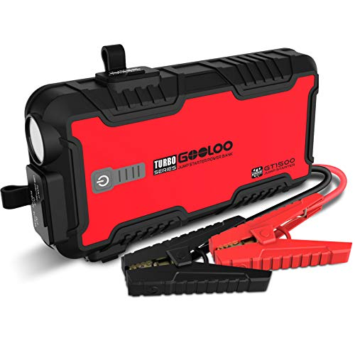 Car Jump Starter, GOOLOO GT1500 1500A Peak SuperSafe 12V Portable Water Resistant Lithium Power Pack Auto Battery Booster with USB Quick Charge, Type-C Port for Up to 8L Gas and 6L Diesel Engine