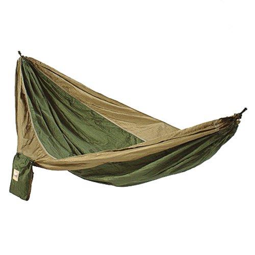 Hammaka Parachute Nylon Portable Double Hammock, Army Green/Brown