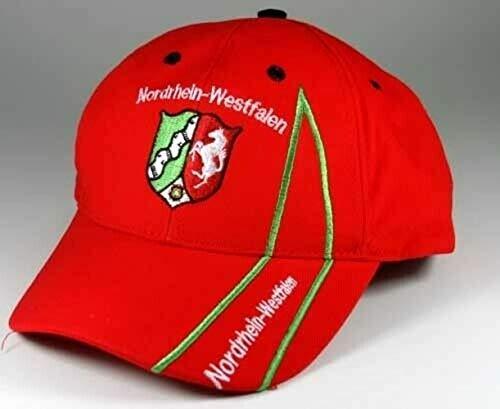 Fanshop Lünen Basecap Nordrhein-Westfalen (NRW) Kappe Cap mit Stick Baseballcap Kappe Mütze Schrift Fahne rot Schirmmützen