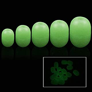 Z&S 100pcs Luminous Beads for Fishing Saltwater Fishing Glow Beads Soft Rubber Fishing Beads Fishing Line Beads Round Oval Fishing Rigs Salmon Eggs Rig Beads for Saltwater