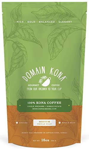 100% Kona Coffee – GROUND, Medium roast, Single estate gourmet coffee, 16 ounces, Farm fresh...