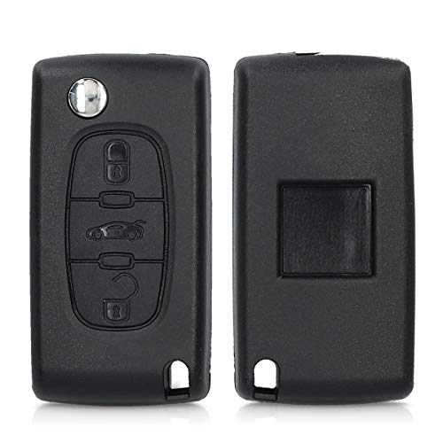 kwmobile Autoschlüssel Gehäuse kompatibel mit Peugeot Citroen 3-Tasten Autoschlüssel - ohne Transponder Batterien Elektronik - Auto Schlüsselgehäuse - Schwarz