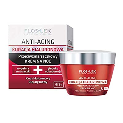 FLOSLEK Anti-Wrinkle Night Cream | 50 ml | Hyaluronic Treatment | Moisturizes & Reduces Wrinkles | Suitable for People with Mature Skin | Dermatologically Tested from Floslek