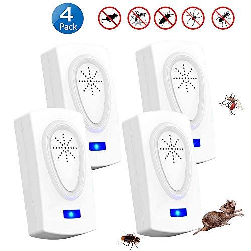 Repelente Ultrasónico Mosquitos 2019 Control de Plagas para Las Moscas, Cucarachas, Arañas, Hormigas, Ratas y Ratones, Insectos Antimosquitos Eléctrico Extra Fuerte para Interiores (4 Packs)