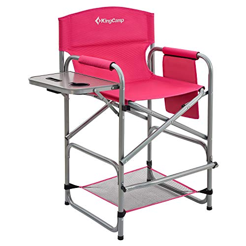 KingCamp Extra Tall Director Chair Bar Height Folding Makeup Chair with Footrest Side Table and Cup Holder, Supports Up to 300 LBS