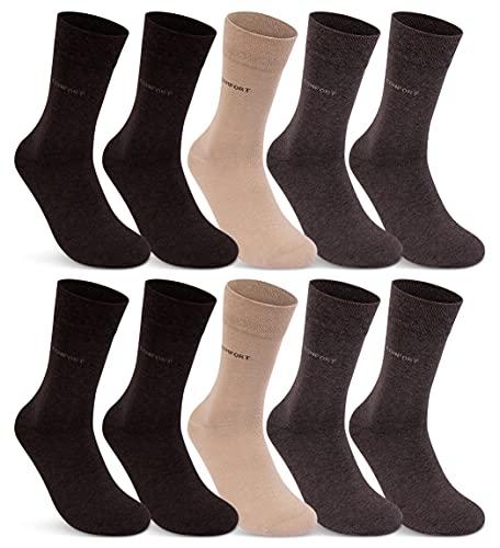 10 Paar Comfort Socken Damen und Herren ohne Gummi und ohne Naht Baumwolle Komfortb& (Beige Braun 43-46)