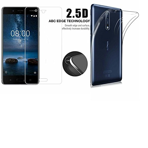 22NINE™ (Combo Offer) Nokia 8 Flexible Ultra Slim Silicone Transparent Soft Back Cover + 2.5D HD Tempered Glass Screen Protector for Nokia 8