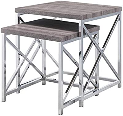 9166f4d2c12c Carolina Classic Charleston Nesting Table Set Washed Gray Chrome