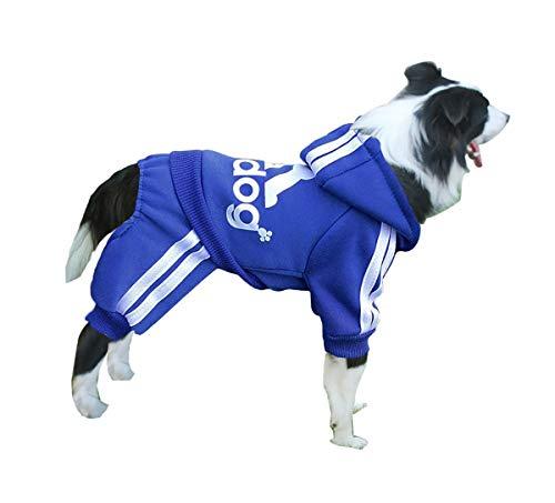 Izefia Ropa para Perro Sudaderas con Capucha para Perro Suéter Cálido de Lana 4 Patas Mono Camisa de Algodón para Perro Pequeños Perro Grande (Azul, XXL)