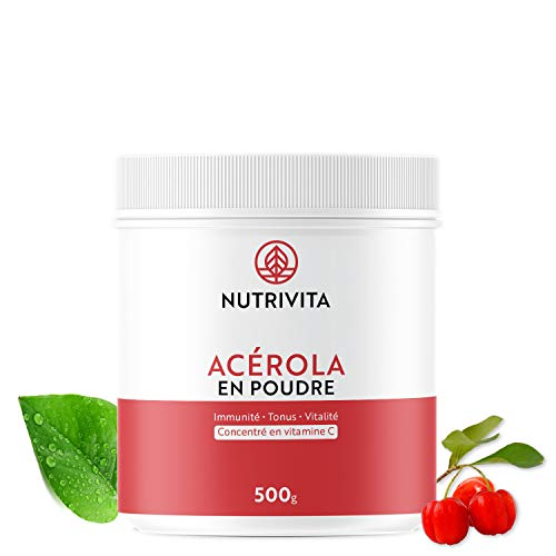 Acérola Poudre 500g   25% de vitamine C   Tonifiant Naturel   Cultivé au Brésil & Conditionné en France   Cuillère doseuse incluse   Nutrivit