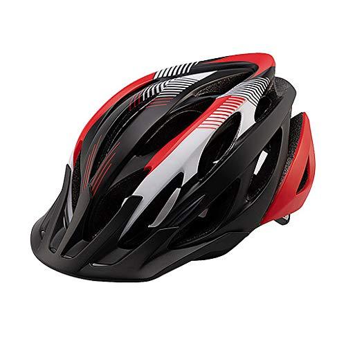 Adulto Casco De La Bici, Bicicleta De Montaña Casco De MTB Ciclo De La Bicicleta Cascos, Ajustable Dial-Fit Integralmente Moldeo Ligera Cascos para Hombres Y Mujeres,Black Red White