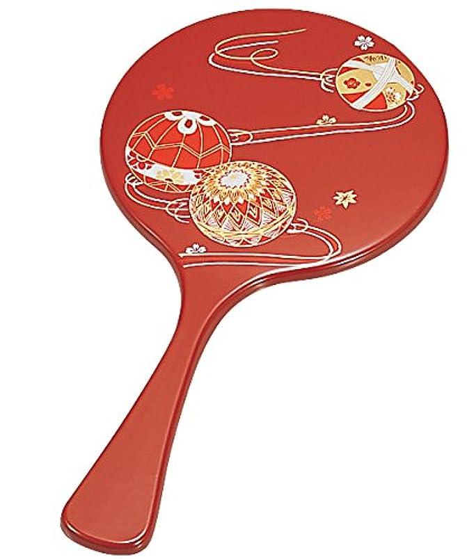 花束空虚文庫本中谷兄弟商会 山中漆器 丸手鏡 朱 てまり33-0807