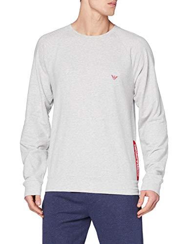 Emporio Armani Underwear Mens Sweater Stretch Terry Sweatshirt, Melange Grey, L