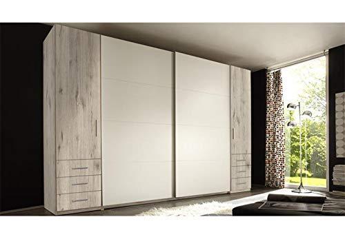 Möbel Akut Schwebetürenschrank Store Kleiderschrank Sandeiche Dekor Hochglanz weiß 4-türig