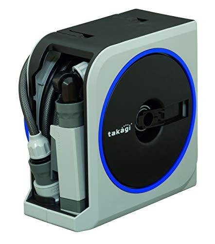 TAKAGI Mini-Box Schlauchtrommel, Grau/Blau, 10m