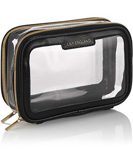 Lily England Clear Travel Makeup Bag Organiser - Small Portable Airport Toiletry Cosmetic Case - Black & Gold