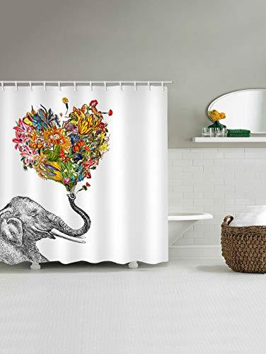 Gutgojo Anti-Schimmel Duschvorhang 180cm x200cm Waschbarer Textil Badvorhang Elefant Digitaldruck inkl. 12 Duschvorhangringe für Badezimmer (Typ 9)