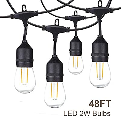 FMART 48ft Led Outdoor String Lights 2 Pack, Heavy-Duty Waterproof Dimmable Led String Lights, 2X16 Hanging Sockets, 2W Edison Vintage Bulb, Commercial Grade Create Cafe Ambience for Patio Backyard