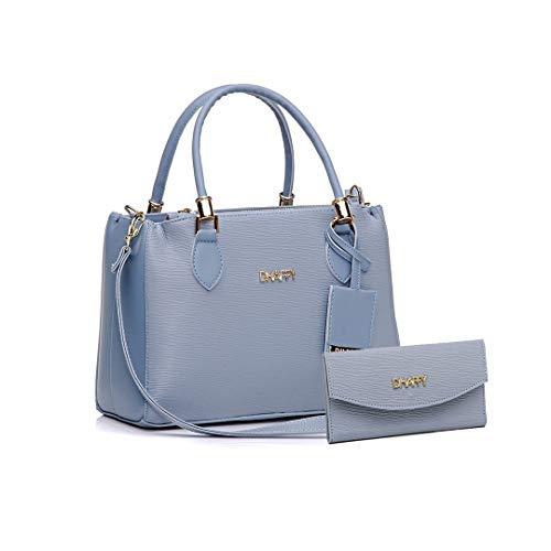 Bolsa Feminina Com Carteira, Alça De Mão E Tiracolo Ajustável Cor:Azul;Tamanho:M;Gênero:Feminino