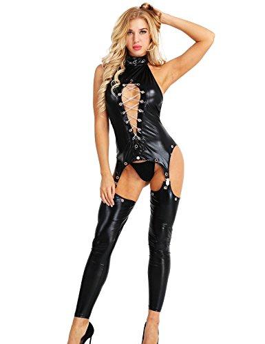 iixpin Body Femme Sex G-String Ficelle Sexuel Catsuit Bodystocking Cuir Bodycon Cosplay Costume Jeu de Rôle Combinaison Collant Lingerie Nuit Performance Soirée Clubwear Nightwear Noir Large