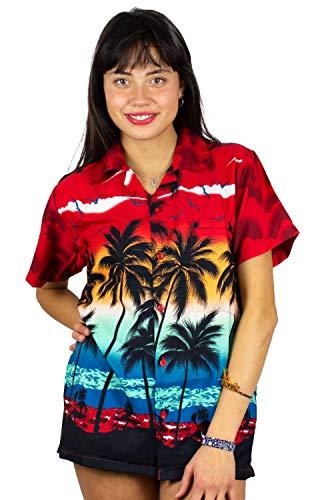 V.H.O. Funky Hawaiibluse, Hawaiihemd, Kurzarm, Beach, Rot, XL