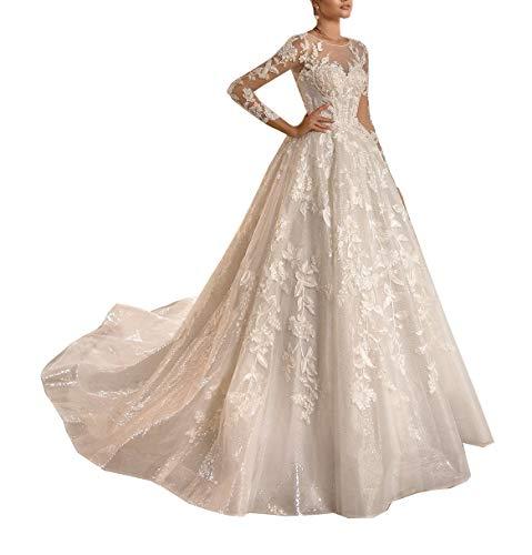 CGown Plus Size Illusion Sweetheart Lange Ärmel Spitze Pailletten Brautkleider für Braut mit Zug Brautkleid Ballkleid Gr. 46, weiß