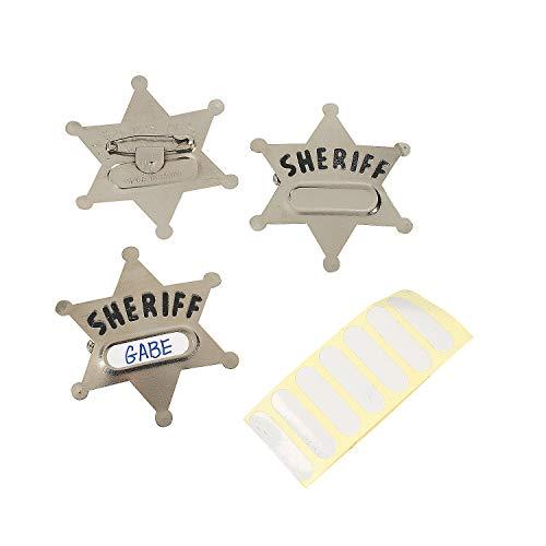 Sheriffstern mit Namensschild für Cowboy und Indianer 12 Stück mit Palandi Sticker