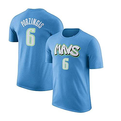 Uniformes de baloncesto para hombres, New York Knicks # 6 Kristaps Porzingis NBA Chalecos deportivos al aire libre camisetas de manga corta Camisetas informales Camisetas de baloncesto, azul claro (16
