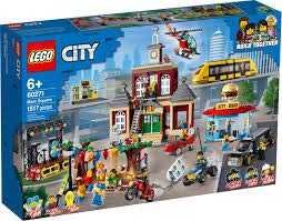 Lego City Main Square 60271 Set with 1517 Pieces Featuring a Town Hall, Diner, Limo, Park, Tram and Helicopter from City Adventures