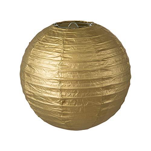 LIHAO Lampenschirm Rund Papier Laterne Golden Classic Bamboo Style Gerippter Hängeleuchtenschirm Deko für Party Garten Schlafzimmer Wohnzimmer Dekoration (8