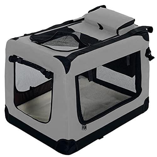 PET VIOLET Transportbox Hundebox Faltbar Katzenbox Hunde Tragetasche 62x42x44 cm, Grau