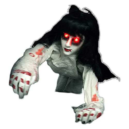 WFCQNB Halloween Horror Props Grawling Female Fantasma Habitación Escape Haunted House Luminoso Electric Toy Script Script Matar Suministros, Especial
