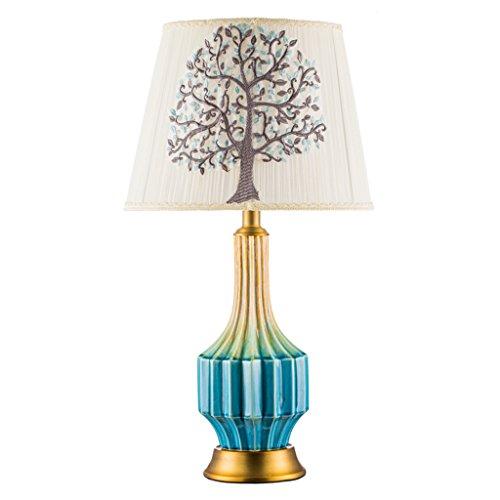 Tafellamp nieuwe tafellamp van keramiek in Chinese stijl bedlampje in bed lamp van koper blauw woonkamer Villa Hotel Art Light E27 * 1 tafellamp