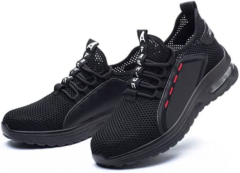 S-JUBANG Breathable and air-Cushioned Protective Shoes, Flying Woven Anti-Smashing and Anti-Piercing Safety Shoes, Steel Toe Cap Work Shoes, Protective Shoes