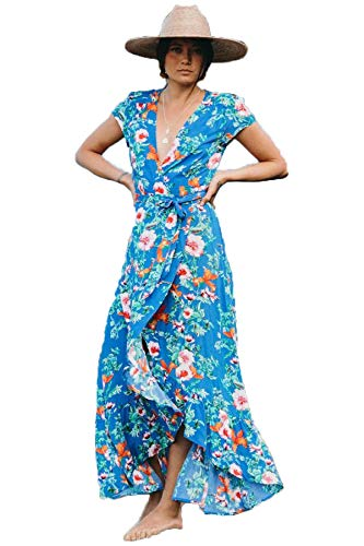 XIX Palm - Grenada Wrap Maxi Dress | Sundress & Beach Cover up | Casual Boho Overall | Floral & Flowy Vintage | V-Neck Ruffle Wearing 100% Rayon for Women Small