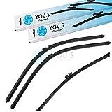 YOU.S - Set di spazzole tergicristallo anteriori e posteriori, 330 + 650 + 650 mm