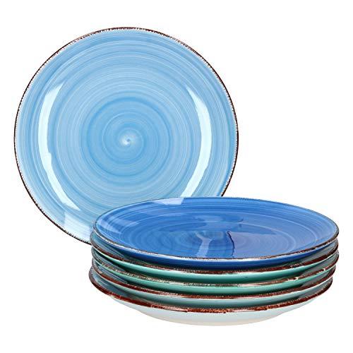 MamboCat Blue Baita 6x Kuchen-Teller blau I robustes blaues Steingut-Geschirr für 6 Personen I 6er Dessert-Teller-Set - mit modernem Strudel-Dekor in tollen Blautönen I blaue Teller klein 6 Stück