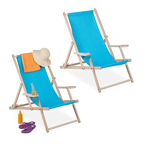 Relaxdays Liegestuhl klappbar 2er Set, Holz & Stoff, 3 Liegepositionen, Armlehnen, Getränkehalter, Strandstuhl, hellblau