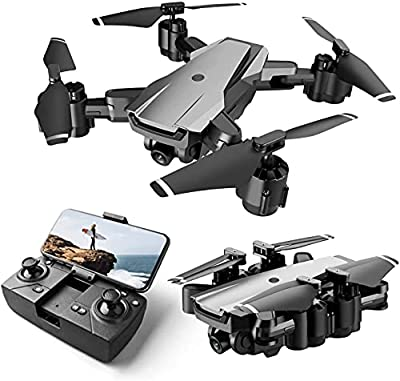 HR H3 Drone with Camera for Adults and Kids,1080p HD FPV Live Video Camera,RC Quadcopter Foldable Drones for Beginners with Optical Flow Positioning,Headless Mode,2 Batteries and Carrying Case