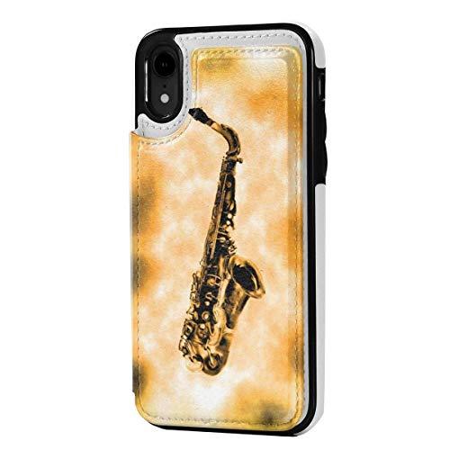 N/A Leder-Schutzhülle für iPhone XR, Kartenfächer, mit Kreditkartenfächern, Saxophon-Druck, kratzfest, stoßfest, weiches TPU, Rundum-Schutzhülle für iPhone XR 6,1 Zoll