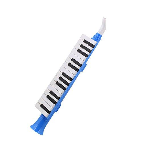 Yibuy 27 Tasten für Melodica Mundharmonika Klavier QM27A Schwarz Weiß Tastatur für Kinder Blau Kunststoff