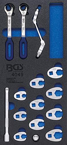 BGS 4049   Werkstattwageneinlage 1/3: Hahnenfußschlüssel und Offene Ringschlüssel   15-tlg.