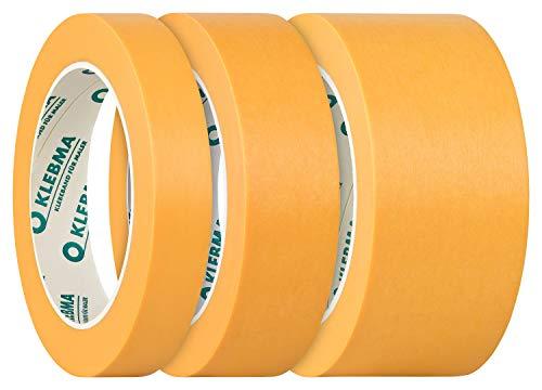 KLEBMA Gold Malerabdeckband Goldband Profi 3 Rollen je 50m Washi (Set 19mm, 30mm, 50mm)