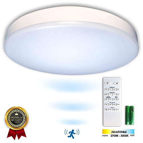 "Premium 14"" Flush Mount LED Ceiling Light Fixture with Motion Sensor, Remote Control & Timer - Dimmable & Adjustable Light Color (Warm 2700K-5000K Cool) - Bedroom, Dining Room, Bathroom and Closet"