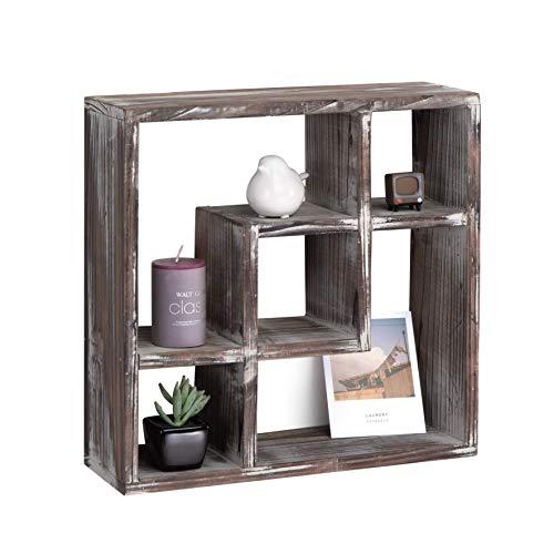 J JACKCUBE DESIGN Rustieke Schaduwdoos - Vrijstaande vintage houten vitrinekast, opbergkubus organisatoren of antieke kasten, 6 vakplanken voor badkamer, keuken, slaapkamer, MK510A
