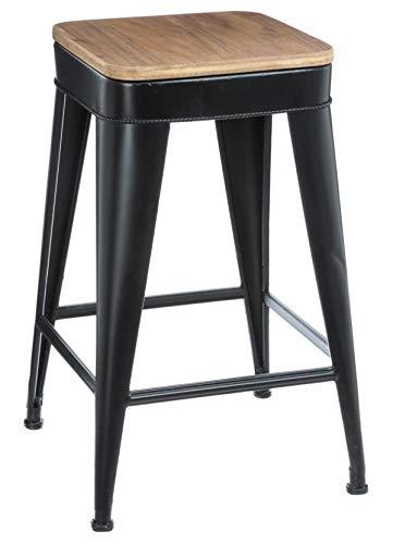 PEGANE Tabouret de Bar Coloris Noir en métal - Dim : L. 39 x l. 39 x H. 79,5 cm